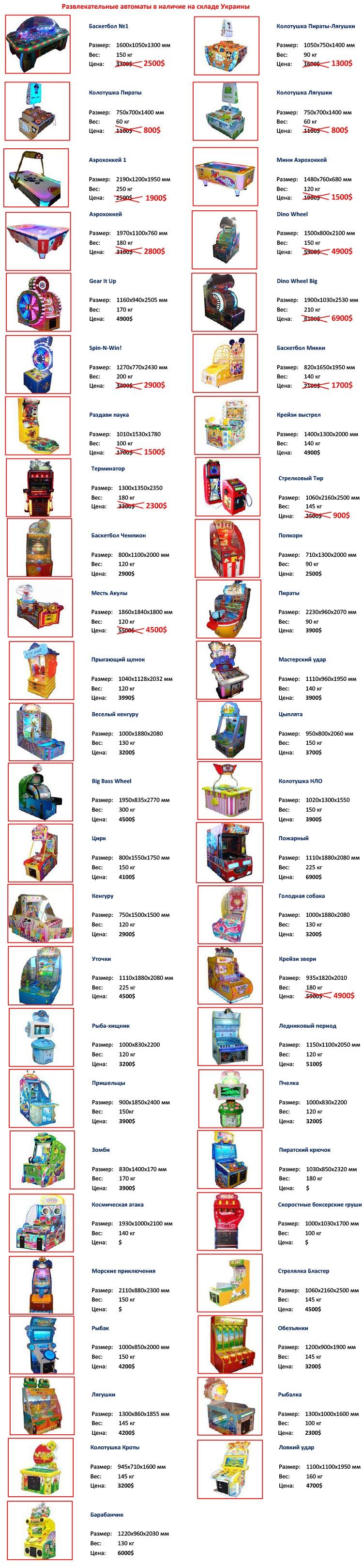 Прайс лист на детские автоматы развлекательные