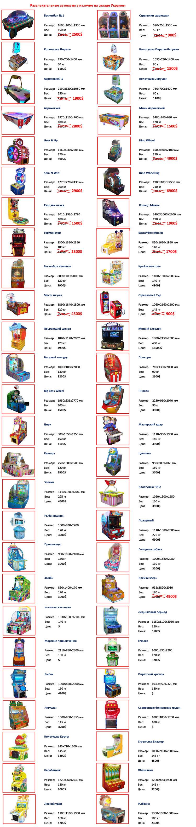 Прайс лист на детские развлектелные автоматы